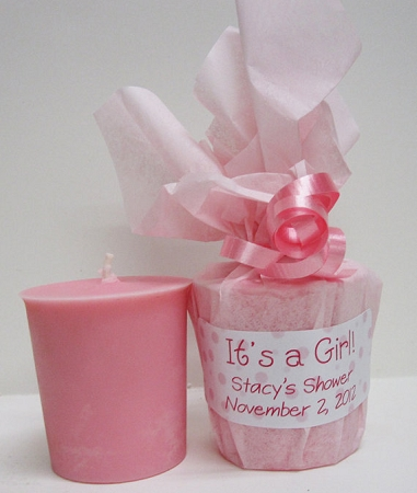 Baby Shower Favors Pink Baby Powder Scented Soy Votives It S A Girl