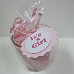 It's a Girl Baby Announcement Favors - Pink Baby Powder Scented Soy 4oz Soy Candle