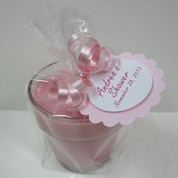 It's a Girl  Baby Shower Favors - Pink Baby Powder Scented Soy 4oz, Flowerpot Candle