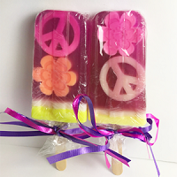 Raspberry Scented Popsicle Glycerin Soap - Peace Signs & Flowers