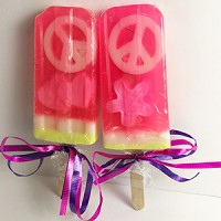 Raspberry Scented Popsicle Glycerin Soap - Peace Signs