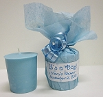 It's a Boy Baby Shower Favors - Blue Baby Powder Scented Soy Votives